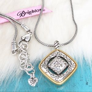 Brighton Crystal Two Tone Reversible Necklace NWOT